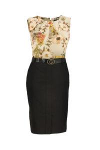 Fotografia typu duch - bluzka w kwiaty i czarna spódnica na białym tle
