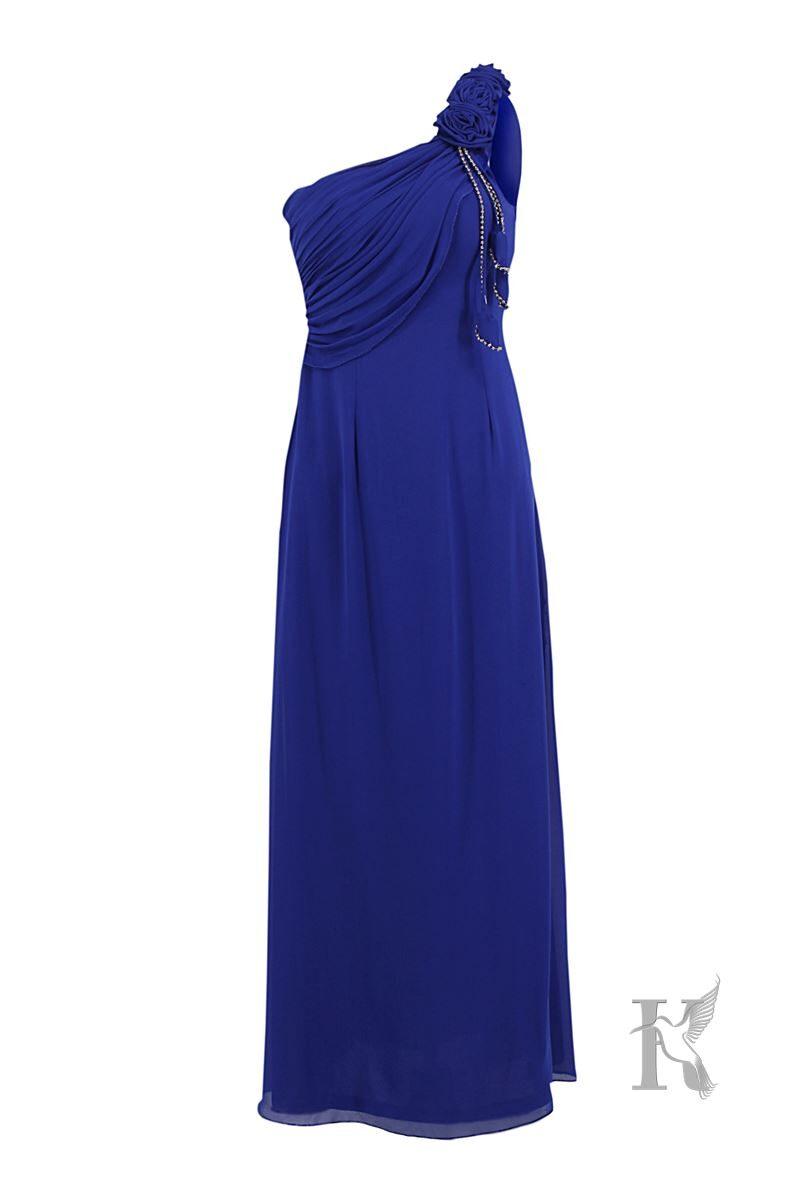 Packshot na niewidzialnym manekinie – niebieska sukienka wieczorowa