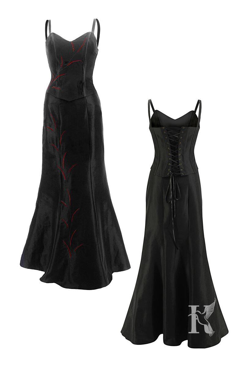 Packshot na niewidzialnym manekinie – czarna sukienka wieczorowa